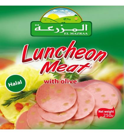 Boite conserve :Luncheon poulet avec olive  el mazraa